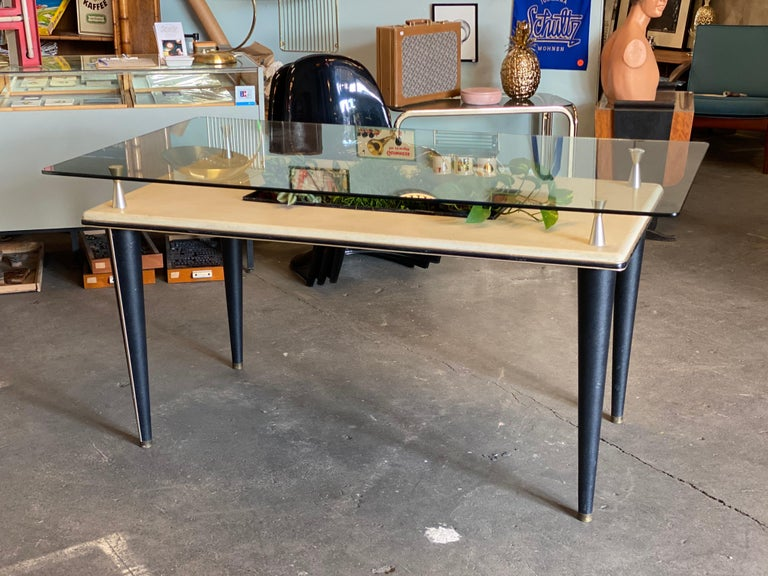 Mid-20th Century Glass Top Dining Table, Italy, 1950s For Sale