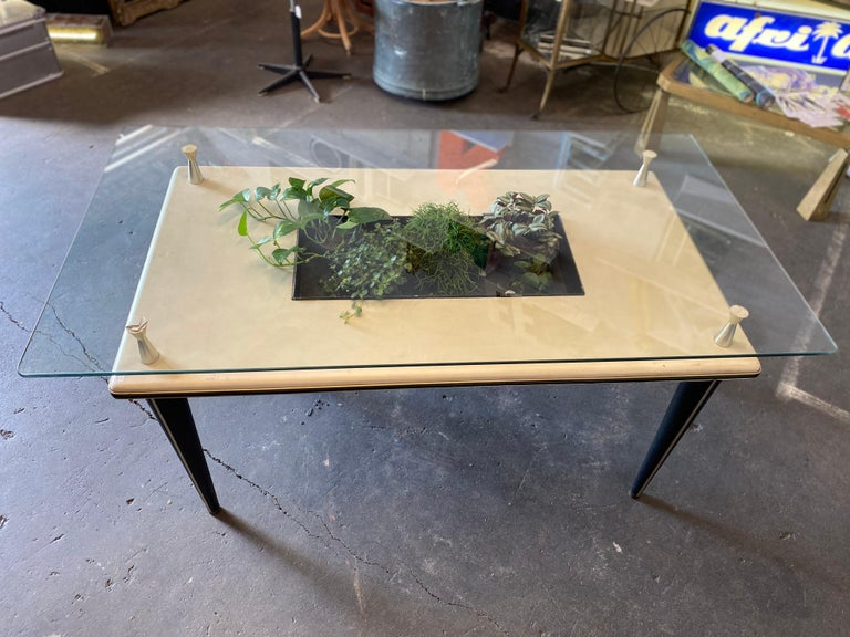 Plastic Glass Top Dining Table, Italy, 1950s For Sale