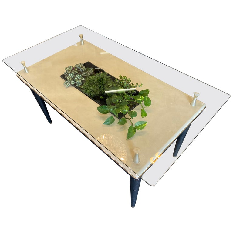 Glass Top Dining Table, Italy, 1950s For Sale