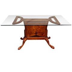 Glass Top Hardwood Dining Table