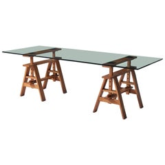"""Glass Top """"Leonardo"""" Table by Achille & Pier Giacomo Castiglioni"""