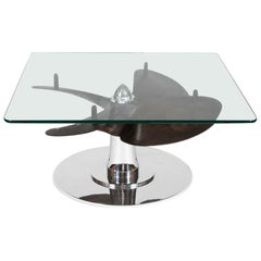 Glass Top Low Table with Ships Propeller Base