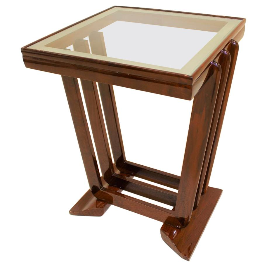 Glass Top Machine Age Art Deco Speed Band Side Table