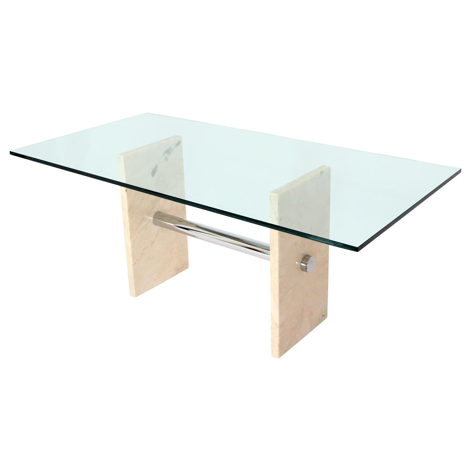 Glass Top Marble and Chrome Base Rectangular Dining Conference Table