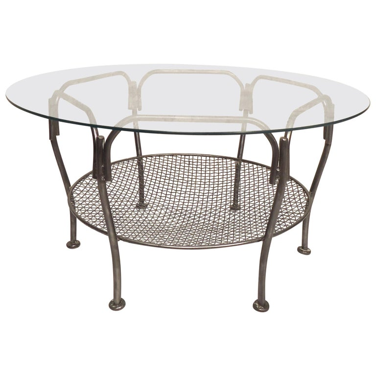 Glass Top Metal Coffee Table For Sale