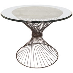 Glass Top Metal Side Table