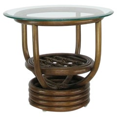 "Glass Top Rattan ""Kauai"" Side Table with Stacked Base"
