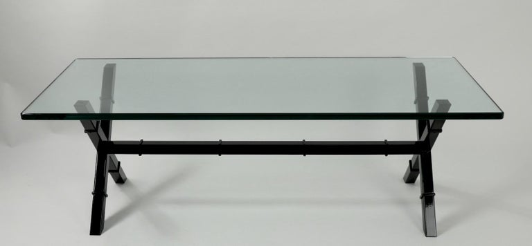 Glass Top X Base Coffee Table For Sale 4