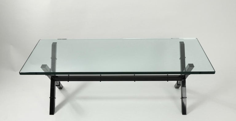 Glass Top X Base Coffee Table For Sale 5