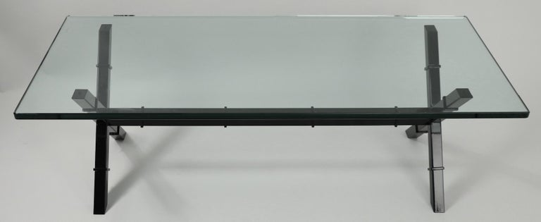 Glass Top X Base Coffee Table For Sale 6