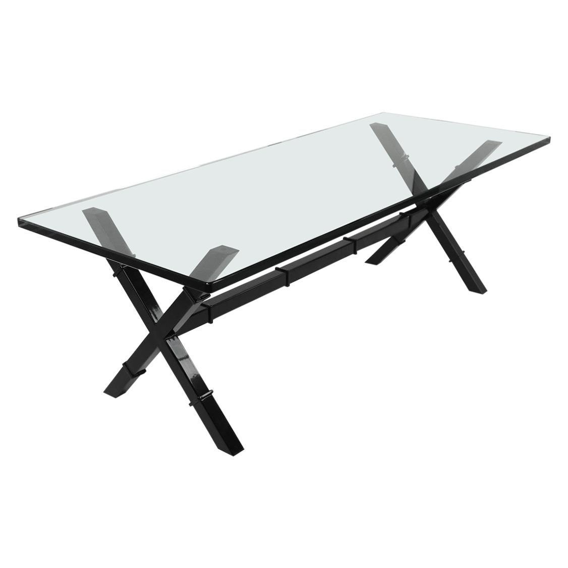 Glass Top X Base Coffee Table