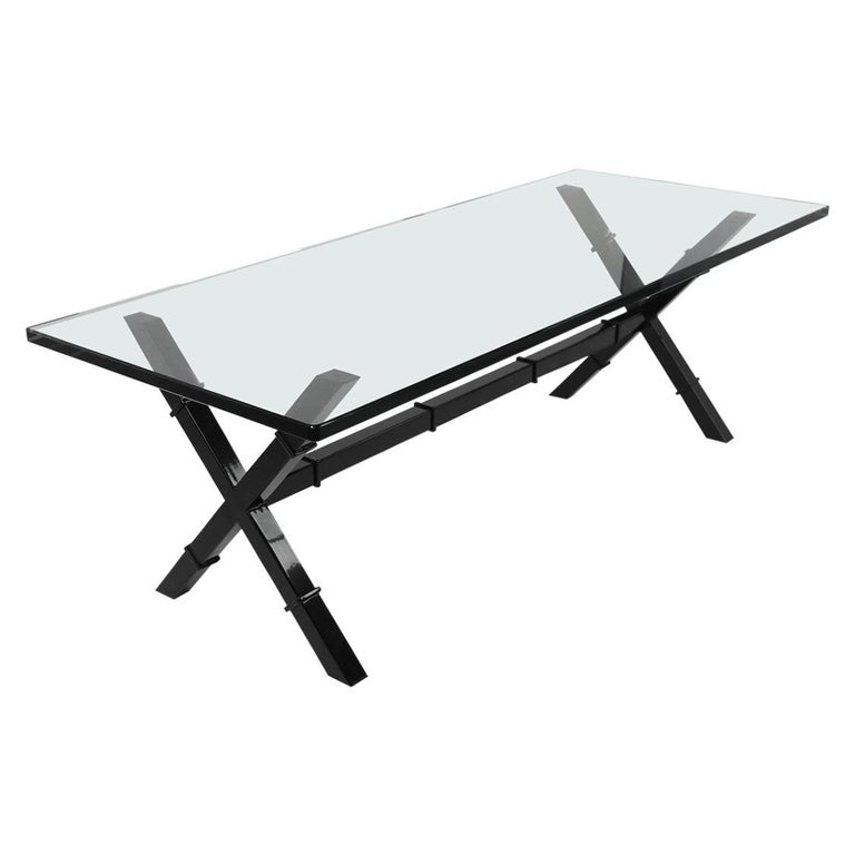 Glass Top X Base Coffee Table For Sale