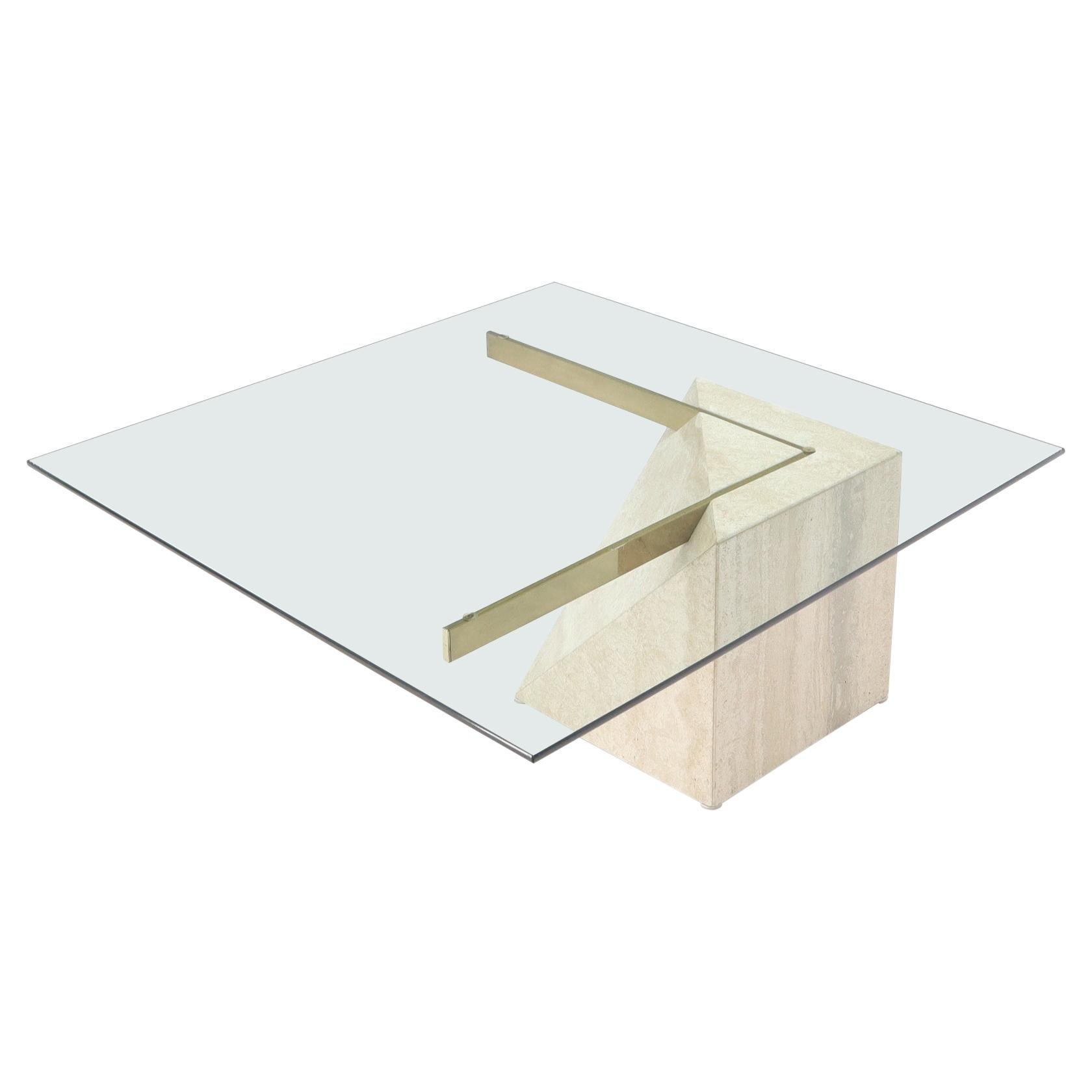 Glass Travertine & Brass Italian Mid-Century Modern Square coffee Table Artedi