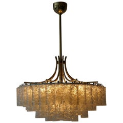 Glass Tube and Brass Chandelier by Doria, Germany