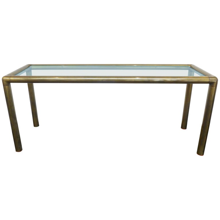 Glass And Tubular Brass Console Or Sofa Table For Sale At 1stdibs