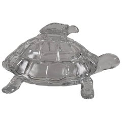 Glass Turtle Form Covered Candy or Nut Dish