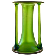 Glass Vase Austrian Jugendstil Josef Hoffmann Loetz Green 1900