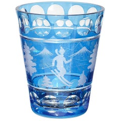 Glass Vase Blue Crystal with Skiier Decor Sofina Boutique Kitzbuehel
