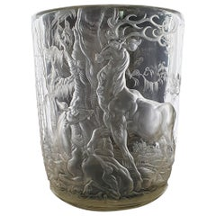 Glass Vase Engraved by August Bischof, circa 1930