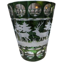 Glass Vase Green Crystal with Hunting Decor Sofina Boutique Kitzbuehel