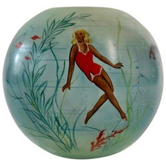 Glass Vase with Hand Painted Swimming Girls and Corals from 1950, Cabana  Style