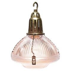 Glass Vintage Industrial Brass Pendant Light by Holophane, France