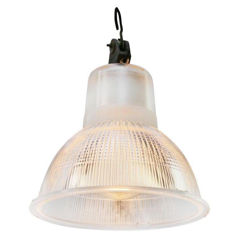 Glass lamp by Holophane, France. No. 22338S. Porcelain holder. 2 meter / 80