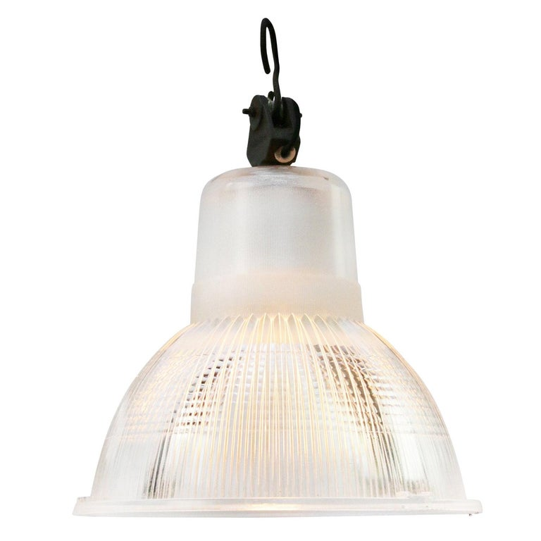 Glass Vintage Industrial Pendant Light by Holophane France For Sale