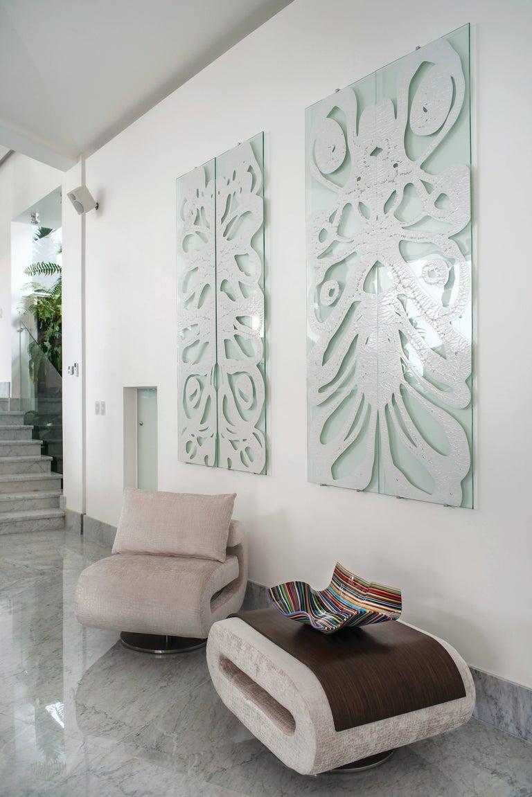 Mexican Glass Wall Decoration Roarshax in Black Organic Design by Orfeo Quagliata For Sale