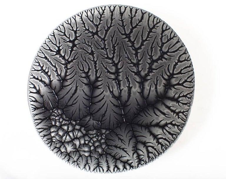 Contemporary Glass Wall Decoration Roarshax in Black Organic Design by Orfeo Quagliata For Sale