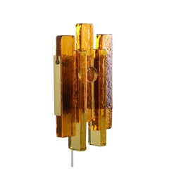 Glass Wall Light by Hassel & Teudt 1960s, Rustic Amber Glass and Brass Wall Lamp