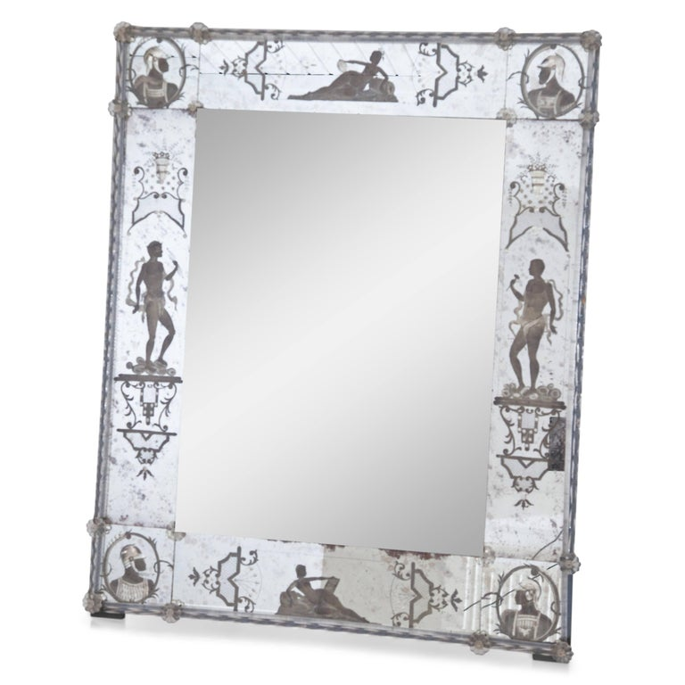 Italian Glass Wall Mirror, Italy, Early 19th Century For Sale