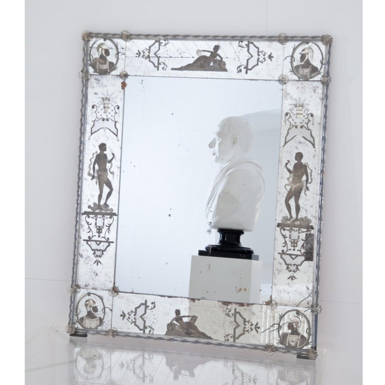Glass Wall Mirror, Italy, Early 19th Century In Good Condition In Greding, DE