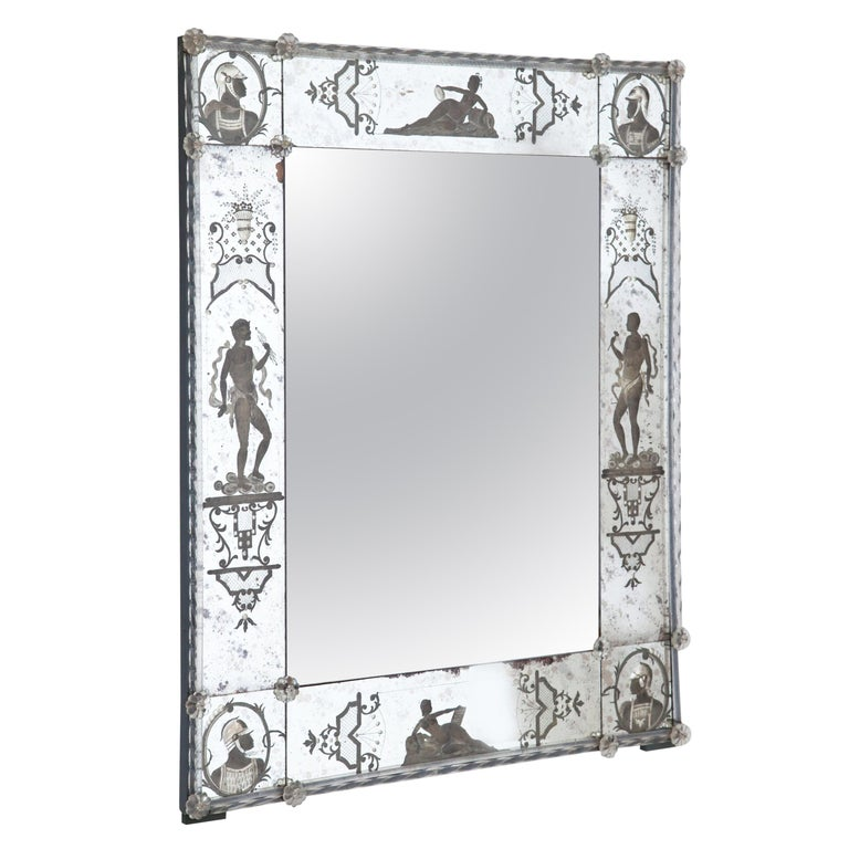 Glass Wall Mirror, Italy, Early 19th Century For Sale