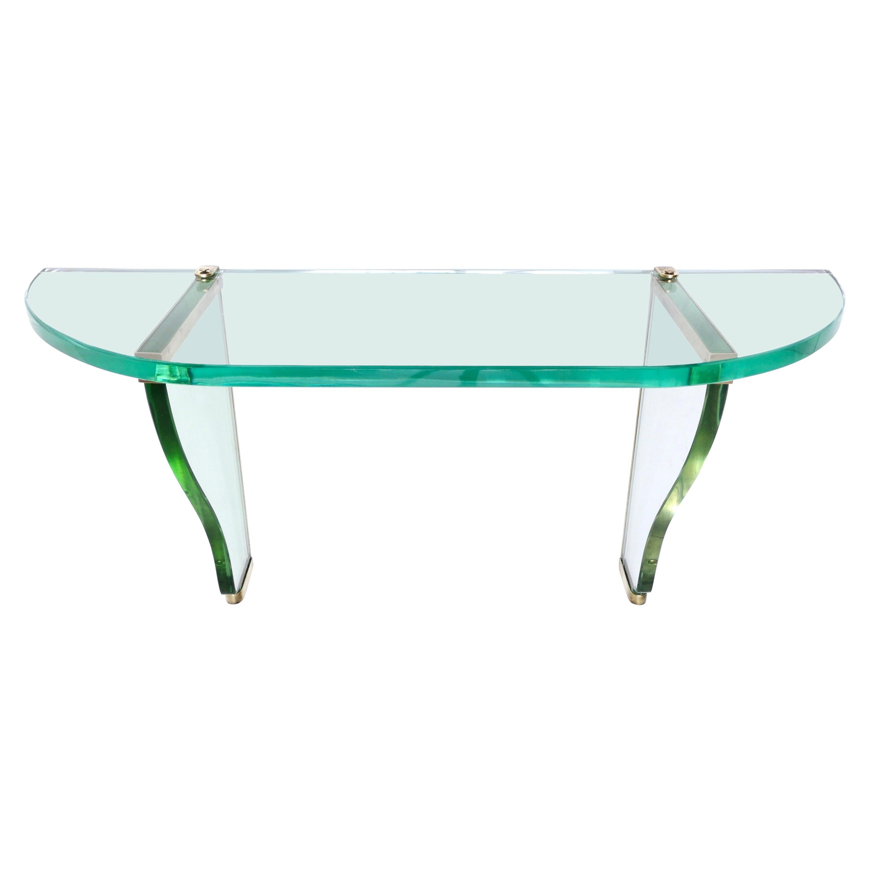 Glass Wall-Mounted Console Table by Pietro Chiesa for Fontana Arte, Italy