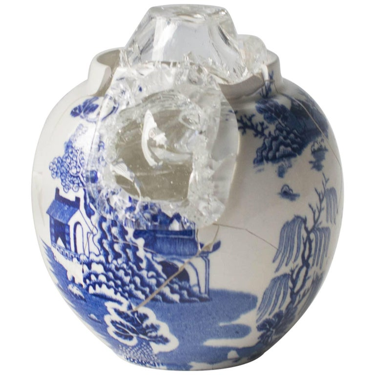 Glass Wearing Ceramic Vase 01 Contemporary Zen Japonism Style For Sale