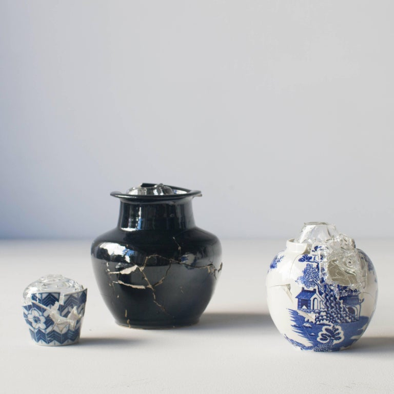 Glass Wearing Ceramic Vase 02 Contemporary Zen Japonism Style In Excellent Condition For Sale In Shibuya-ku, Tokyo