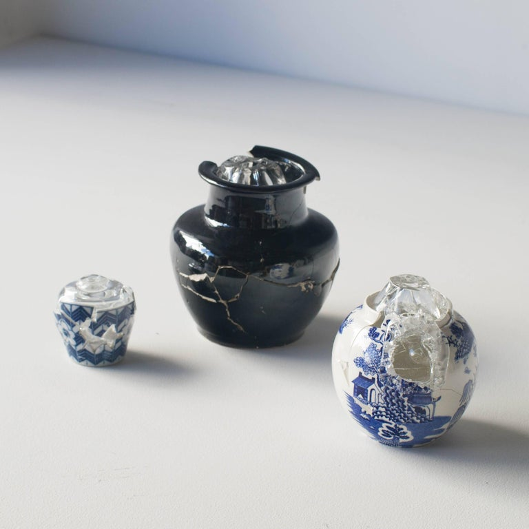 Japanese Glass Wearing Ceramic Vase 03 Contemporary Zen Japonism Style For Sale