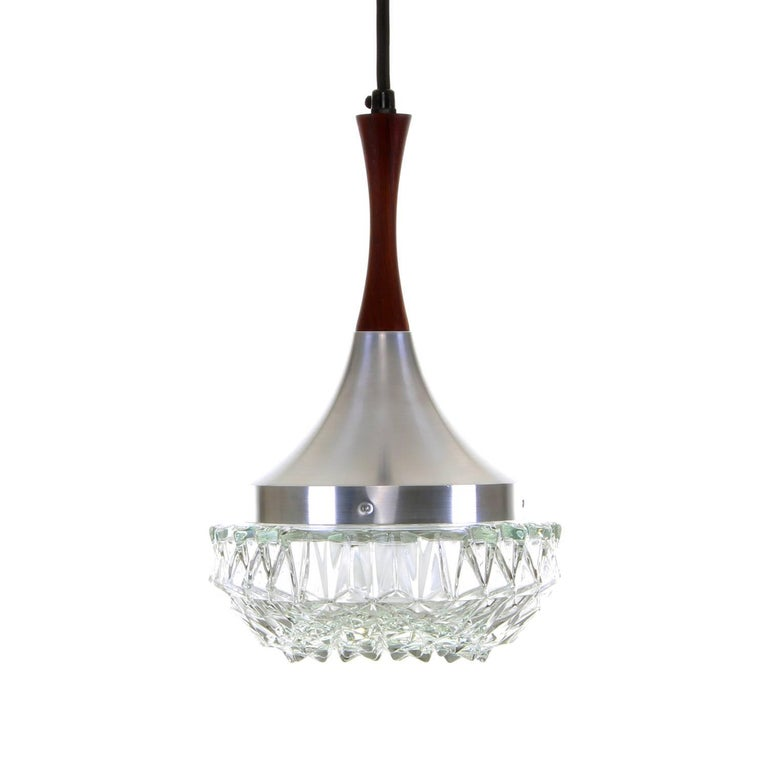 Glass with Rosewood Pendant Light, circa 1960s Pressed Glass Hanging Lamp