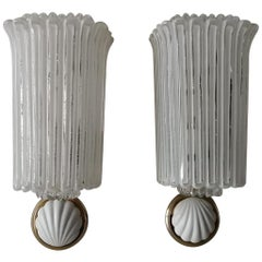 Glass with Small Porcelain Shells Pair of Sconces by Limburg, 1960s Germany