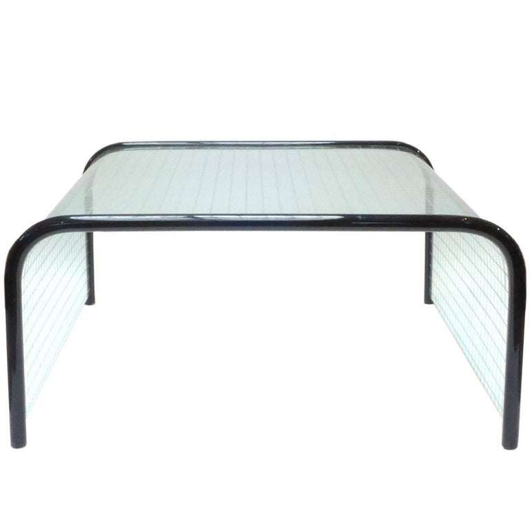 Glass and Wood Waterfall Coffee Table by Angelo Cortesi for Fiam For Sale