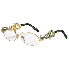 Glasses Yellow Gold White Diamonds Tsavorite Hand Decorated with Micro Mosaic