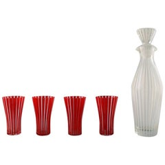 "Glassware Set, Decanter and Cocktail Glasses ""Strict"", Bengt Orup, Johansfors"