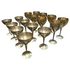 """Glassware Set for 8 Brass Glasses Signed """"Leonard E.P.N.S."""", Italy, 1950s"""