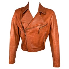 GLASSWATER Size S Cognac Leather Vintage 70's Motorcycle Jacket