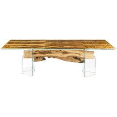 Glass&Wood Portofino Rectangular Table in Olive Wood