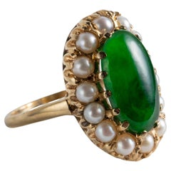 Glassy Imperial Jade & Pearl Ring Circa 1950s Certified Untreated