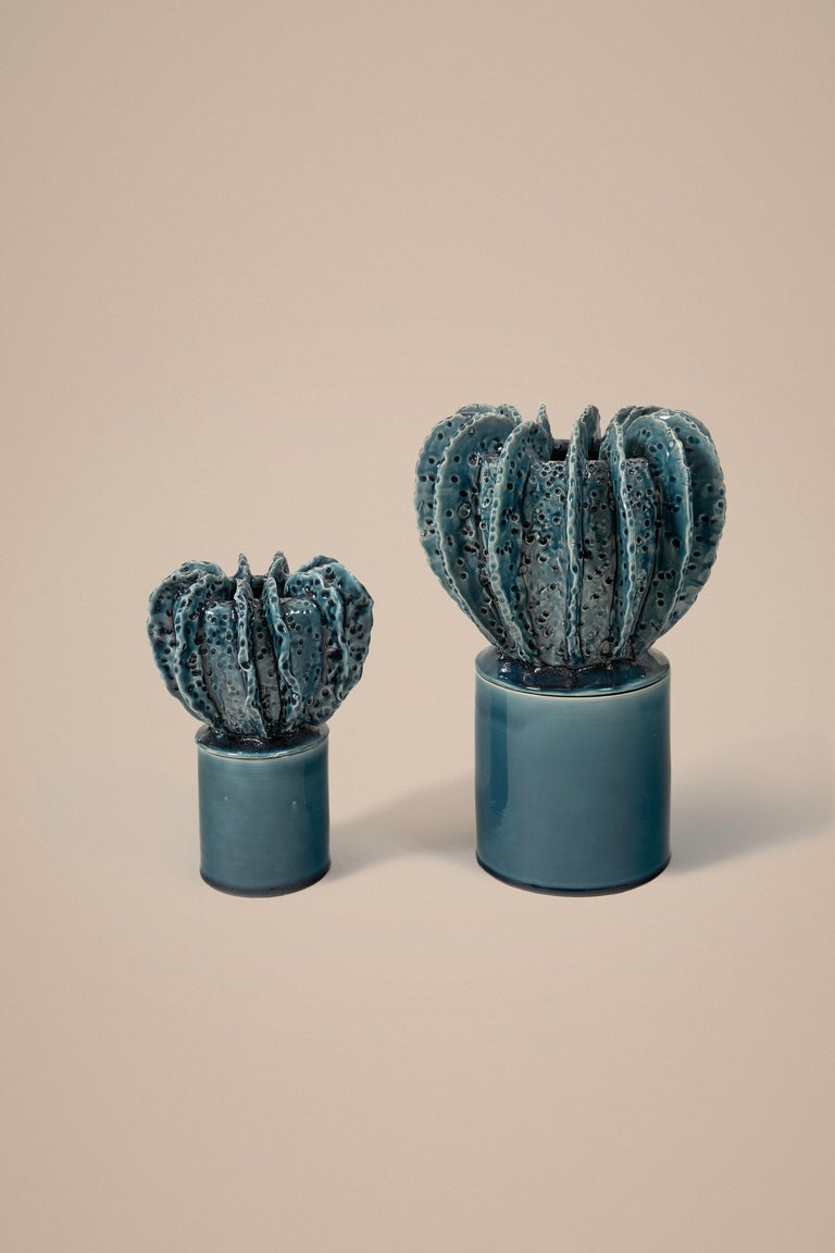 French Glazed Blue Large Candleholder with Sculpted Lid by Laura Gonzalez For Sale