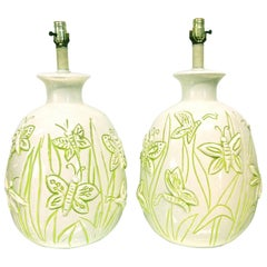 Glazed Ceramic Butterfly Lamps White Background with Green Highlight