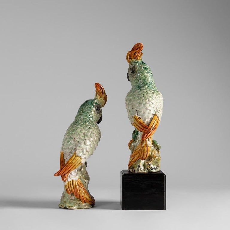 French Glazed Ceramic Cockatoos, Luc and Marjolaine Lanel, France, circa 1950